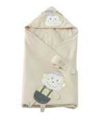 OUCHI Baby Receiving Blanket Organic Cotton Infant Monkey Swaddle Wrap Blanket