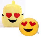 Babyhaven Plush Emoji Heart Eyes Little Kids Backpack and Pillow Set
