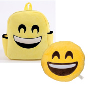 Babyhaven Plush Emoji Happy Face Little Kids Backpack and Pillow Set