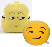 Babyhaven Plush Emoji Sly Face Little Kids Backpack with Smirking Plush Pillow