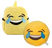 Babyhaven Plush Emoji Tears of Joy Little Kids Backpack and Pillow Set