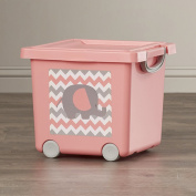 Adorable Nellie Toy Stacking Plastic Basket in Coral with Lid, Handle and Wheels for Kids of All Ages