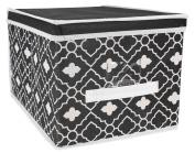 Ana Davis Lattice Printed Storage Box in Black and White