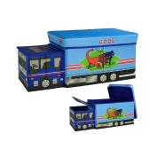 Children Toy Storage Box With Lid Truck-Shaped Storage Cube Storage 58 × 25 × 25CM Blue