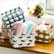 ONLINE Fashion Creative Household Desktop Cotton Linen with handle Sundry Cloth Cosmetic Storage Basket Box Case Organiser