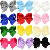 10cm Baby Girl's Hair Bow Grosgrain Ribbon Boutique Lace Hair Bows Clips For Kids Teens Girls Babies Children Toddlers