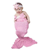 Newborn Baby Crochet Knitted Mermaid Headband Bra Tail Outfit Photography Prop