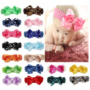 DUOQU 18 Pcs Baby Girls Soft Headbans Fashion Hair Accessories With Big Hair Bows Flowers For Baby Girls Newborn Infant Toddler Multicolor