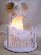 White Porcelain Guardian Angel with Baby Nightlight, 14cm