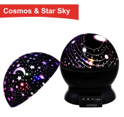 Night Light Kids Lamp, Romantic Rotating Sky Moon & Cosmos Cover Projector Night Lighting for Children Adults Bedroom, Mood/Decorative Light, Baby Nursery Light, Living Room Gift (Black)