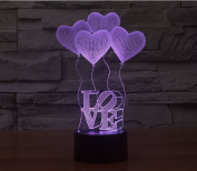 Night Light,10cm LOVE 3D 7 Colour Change LED Acrylic Vision Lamp,Touch Desk Table light for Kids Room,Home Decoration,Gift