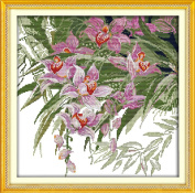 NKF Cross Stitch Kit, Orchid (3), 14CT Counted, Finished Size