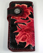 KOI CARP FISH TATTOO CARVED GENUINE LEATHER WALLET, BRAND NEW IN RED JAPANESE FISH TATTOO ON THE WALLET BY HAND, FRETWORK.
