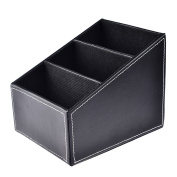haoun PU Leather Storage Boxes Remote Control Holder Desktop Organisers BLACK