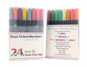24 Pack Dual Tip Watercolour Brush Pen Set- Brush Tip & Fine Bullet Tip, Includes Neon Colours, Water Based Markers, Blending, Shading, Calligraphy, Drawing, Vibrant Colours Great For Adult Colouring