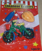 Just For Laughs Japanese Erasers - Novelty Puzzle Eraser - Bicycle, Water Bottle and Helmet