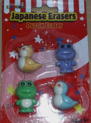 Just For Laughs Japanese Erasers - Novelty Puzzle Eraser - Birds and Frogs