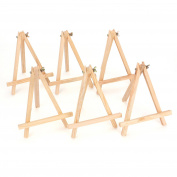 Tosnail 23cm Tall Natural Pine Wood Tripod Easel Photo Painting Display Portable Tripod Holder Stand, 6 Pack