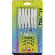 Sakura White Gelly Roll Classic-08 Gel Pen Set, Medium 6-Piece/set