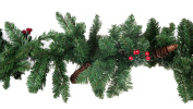 Premium Christmas Artificial Pine Bough Garland with Pine Cones and Berries - 2.7m Long