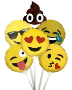 Emoticon 23cm Stick Mylar Balloons Kit (6 assorted designs) Pkg/12