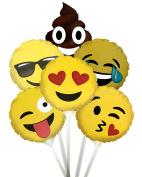 Emoticon 23cm Stick Mylar Balloons Kit (6 assorted designs) Pkg/12