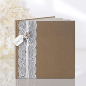 Rustic Vintage Style Brown Wedding Guest Book, 20.5 x 20.5cm - 22 pages