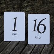 White Wedding Table Numbers - French - Tent Fold - 1 - 16 Black Numbers