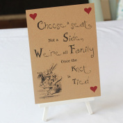 Wedding Church Ceremony Sign Alice in Wonderland Kraft Brown 'Choose a Seat' Sign And Easel