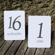 White Wedding Table Numbers - German - Tent Fold - 1 - 16 Black Numbers