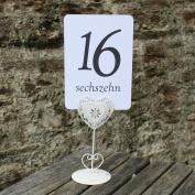 White Wedding Table Numbers - German - Single Card - 1 - 16 Black Numbers