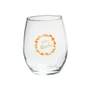 Kate Aspen 30023NA-GIVE Give Thanks 440ml Stemless Wine Glass - (Set of 4), , Clear