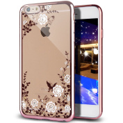 iPhone 7 Case,Inspirationc [Secret Garden] Rose Gold and White PC Plating Clear Shiny Cover Series for Apple iPhone 7 12cm --