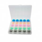 LK-Spring 25Pcs Colourful Sewing Machine Bobbins Spools for Brother Janome Singer Elna with Plastic Case