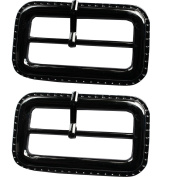 RaanPahMuang Small Metal Belt Buckle Craft Projects, Purse Making, 6.5cm x 4cm, 2pcs, Black