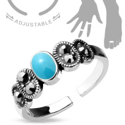 Adjustable Toe Ring/Mid Ring Black Diamond Crystal and Turquoise Centre