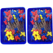 Rimobul Quilting Quilter's 5.3cm Flat Butterfly Head Pins Boxed, 80 Per Pack - Childhood Colours