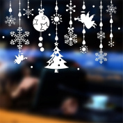 Christmas Wall Stickers Glass Stickers Window Shopping Arranged Decal Decorated White Snowflake Angel