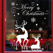 Merry Christmas Christmas Wall Stickers Glass Stickers Window shopping arranged Decal Decorated White Snowflake