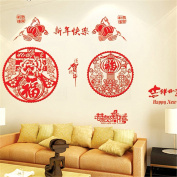 Removable Wall Decor Chinese Stlye Happy New Year Vinyl Removable Home Art Decoration Mural Wall Window Stickers Decal