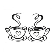 Sunshine Lovely 1pair of Coffee Cups Kitchen Wall Tea Sticker Vinyl Decal Art Restaurant Pub Decor Love
