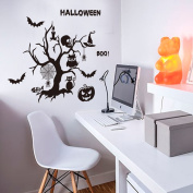 Happy Halloween Withered Cat Bat Pumpkin Candles Spider Skull Hat Wall Decals Window Stickers Halloween Decorations for Kids Rooms Nursery Halloween Party