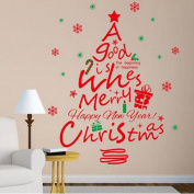Shuaxin DIY Merry Christmas Wall Stickers Decorations Red Word A Good Wishes Happy New Year Wall Stickers Removable Vinyl Wall Decals