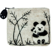 Dzi Felted Coin Purse Panda - credit card holder