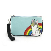 Sleepyville Critters Rainbow Unicorn Wristlet on Vinyl
