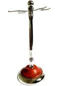 Authentic Rosewood Base Art Stainless Steel Shaving Brush Stand Holder for Razor & brush