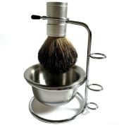 Genuine Badger Brush Anodizing Aluminium Alloy Brush Handle + Stainless Steel Shaving Brush Stand Holder for Razor + Stainless Steel Mug