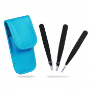 DE'LANCI Eyebrow Tweezer Makeup Set Stainless Steel Tweezer Kit Slanted & Straight and Pointed Tip Tweezers for Eyebrow Nose Ingrown Hair - Include Blue Leather Makeup Tool Bag