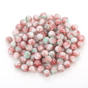 Navifoce Artistic Marble Design Various Colour Round Loose Beads Lampwork Glass Bead for Jewellery Making Craft,8mm Diameter