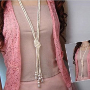 Binmer(TM) Long Knotted Pearl Necklace Women Fashion Sweater Chain Clothing Accessories Jewellery for Girl
